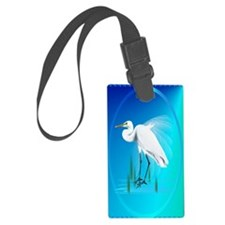 OvalJewelGreat Egret Luggage Tag