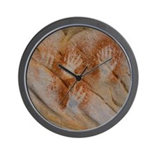 Red Pigment Handprints Wall Clock