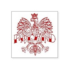"Poland Ink White Eagle Red Square Sticker 3"" x 3"""
