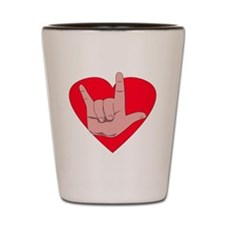 I love you with heart Shot Glass