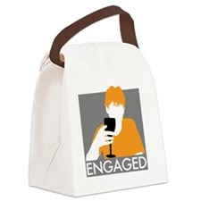 orange-print Canvas Lunch Bag