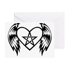 heart pentacle tattoo Greeting Card