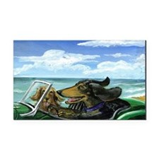 Runaway Doxies in a TR-3 Rectangle Car Magnet