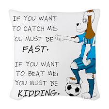 SoccerDogKIdding LarryCaps Woven Throw Pillow