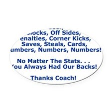 Thank You Our Soccer Coach Greetin Oval Car Magnet
