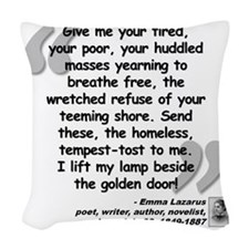 Lazarus Liberty Quote Woven Throw Pillow