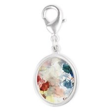 Watercolor Tutus Silver Oval Charm