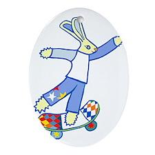 Skate Board Bunny Oval Ornament