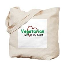 Vegetarian with all my Heart Tote Bag