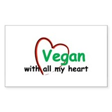Vegan with all my Heart Rectangle Decal