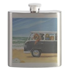 Bus Full of Dogs on the Beach Flask