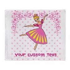 Personalize Your Pink Ballerina Throw Blanket