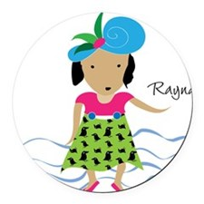 girl with hat-Rayna Round Car Magnet