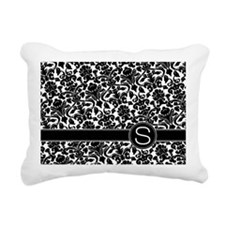 monogram_damask_bw_S Rectangular Canvas Pillow
