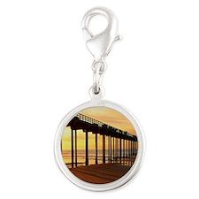 Scripps-Pier-Sunset1 Silver Round Charm