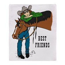 Western Best Friends Throw Blanket