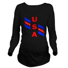USA 4 Long Sleeve Maternity T-Shirt