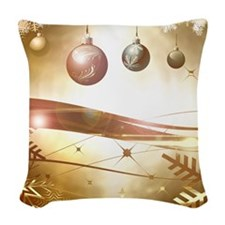 Xmas balls Woven Throw Pillow