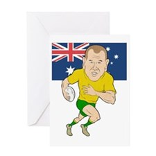 Rugby player running with ball Austr Greeting Card
