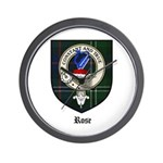 Rose Clan Crest Tartan Wall Clock