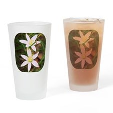 White Flowers Drinking Glass