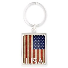 5x8_journal_old_american_flag_us Portrait Keychain