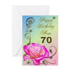 70th birthday card for mom, Elegant rose Greeting