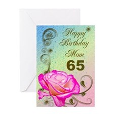 65th birthday card for mom, Elegant rose Greeting