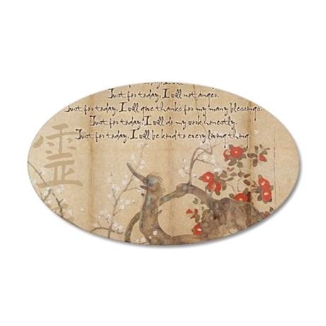 reiki principles plum tree L 35x21 Oval Wall Decal