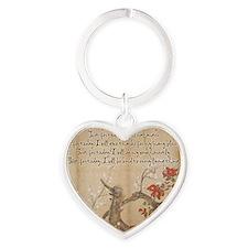 reiki principles plum tree LARGE FR Heart Keychain