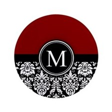 "Maroon Monogrammed Black White Damask 3.5"" Button"