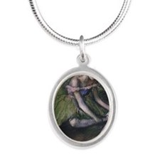 degas ballet green Silver Oval Necklace