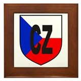 Czech Flag Shield Framed Tile