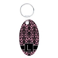 l_monogram_iphone_damask Keychains