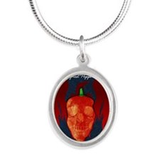 Ghost-poster Silver Oval Necklace