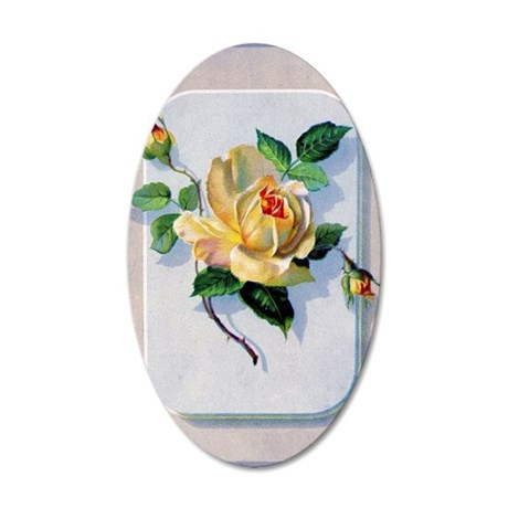 yellow rose vintage image gr 35x21 Oval Wall Decal