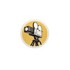 vintage movie film camera retro style Mini Button