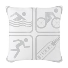 swimbikerunBeer-Grey Woven Throw Pillow