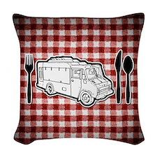 FoodTruck_PlateUtensils_Picnic Woven Throw Pillow