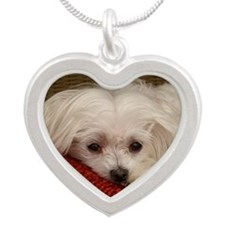 MalteseMousePad3 Silver Heart Necklace