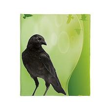 Crow_Green_ipad Throw Blanket