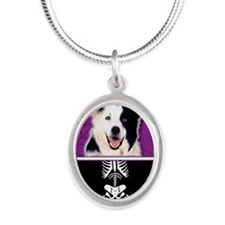 LilSpookyBorderCollie Silver Oval Necklace