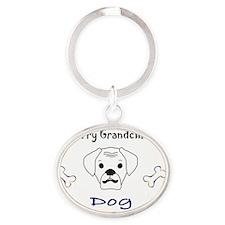 _-MyFurryGrnBoxerWt Oval Keychain