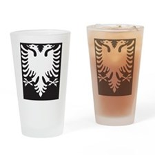 Albanian Eagle White on Black iPhon Drinking Glass