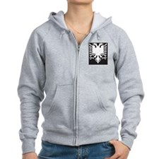 Albanian Eagle White on Black i Zip Hoodie