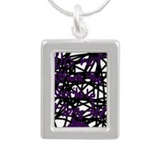 scribble monster Silver Portrait Necklace
