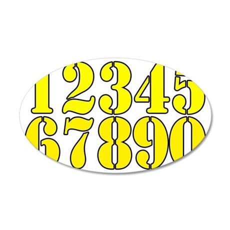 race-numbers-1-0ryellow 35x21 Oval Wall Decal