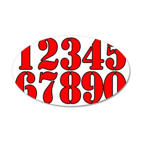 race-numbers-1-0red 35x21 Oval Wall Decal