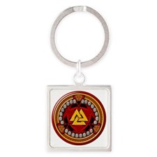 Red Rune Set Square Keychain