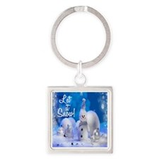 Let it snow Square Keychain
